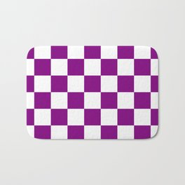 Checkered - White and Purple Violet Bath Mat