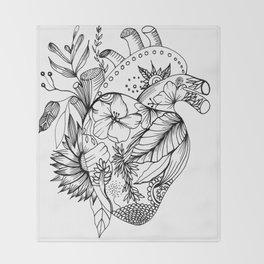 corazón con flores blanco y negro Throw Blanket