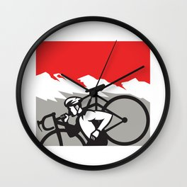 Cyclocross Athlete Running Carrying Bike Alps Retro Wall Clock