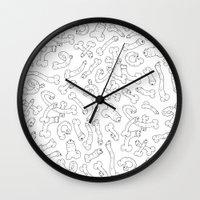 dick Wall Clocks featuring Dick Pattern by Anita Molnár Anita