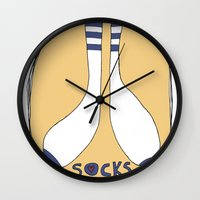 socks Wall Clocks featuring Socks by Mamif