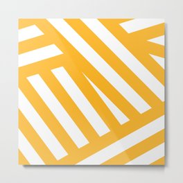 White yellow abstract striped Metal Print