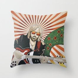 Wildflowers (Tom Petty Tribute Mural, Gainesville) // Music Rock and Roll Guitar Legendary Hall Fame Throw Pillow