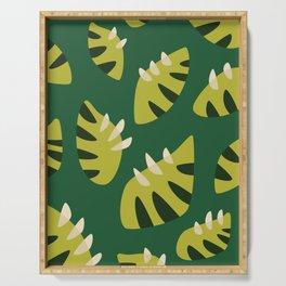 Pretty Clawed Green Leaf Pattern Serving Tray