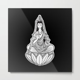 Chinese god. Beautiful goddess. Peace. Beauty concept. Meditation. Healing concept. Chinese medicine Metal Print