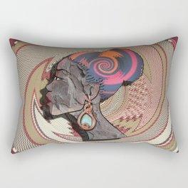 African woman profile on a woven basket Rectangular Pillow