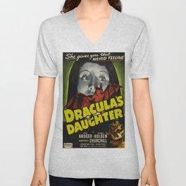 Dracula´s Daughter, vintage horror movie poster Unisex V-Neck