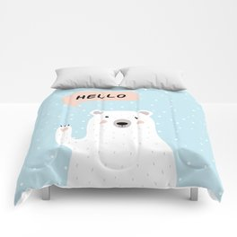 Cute Polar Bear in the Snow says Hello Comforters