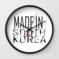 korea Wall Clocks featuring Made In South Korea by VirgoSpice