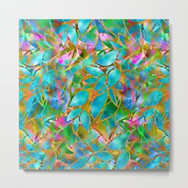 Floral Abstract Stained Glass G265 Metal Print