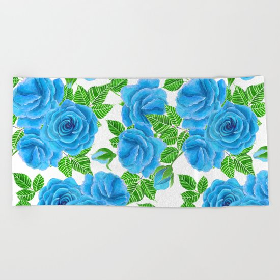 Blue roses watercolor seamless pattern Beach Towel