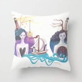Girl With Dreamy Lighthouse Sending Ocean to Boy with Caged Heart Throw Pillow