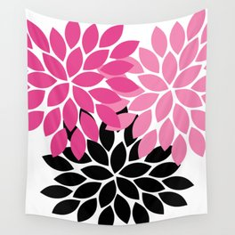 Bold Colorful Hot Pink Black Dahlia Flower Burst Petals Wall Tapestry