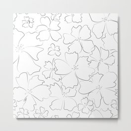 Gray contours of abstract flowers Metal Print