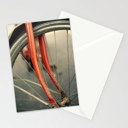 Vintage Red Bicycle with Basket, Close Up Photo Stationery Cards