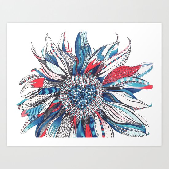 Flower Patterns on White Art Print