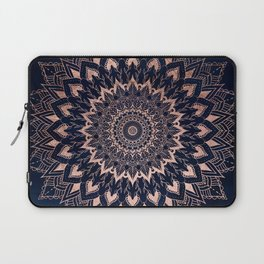 Boho rose gold floral mandala on navy blue watercolor Laptop Sleeve