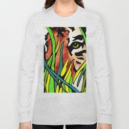 Tiger Eyes Looking Through Tall Grass By annmariescreations Long Sleeve T-shirt