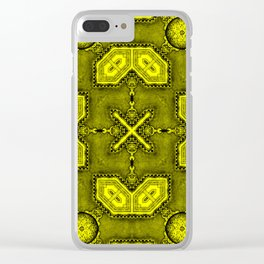 Victorian Art Deco Medieval Pattern bright yellow SB26/5 Clear iPhone Case