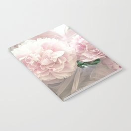Shabby Chic Pastel Pink Peonies Wall Art - Peonies Home Decor Notebook