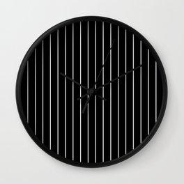 Classic White Baseball Stripe Lines On Black Wall Clock