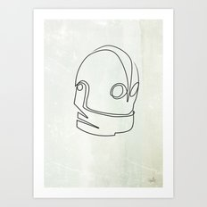 One line Iron Giant Art Print