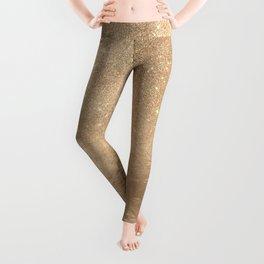 Glamorous Gold Sparkly Glitter Foil Ombre Gradient Leggings