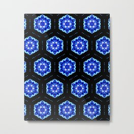 Hexagon Christmas Snowflake Stars Blue Fractal Tile Pattern Metal Print