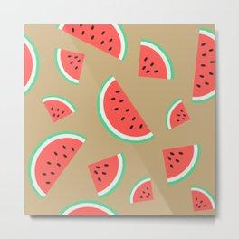 Watermelon Summer Pattern - brown Metal Print