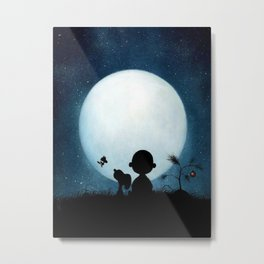 snoopy night moon Metal Print