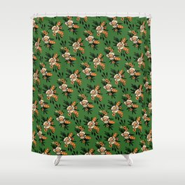 Emerald Blooms Shower Curtain