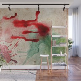 Green & Red Color Splash Wall Mural