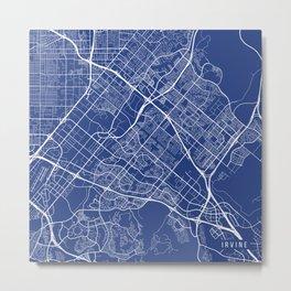 Irvine Map, USA - Blue Metal Print