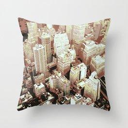 Bird Flight View of New York City Throw Pillow