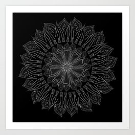 black and white Bohemian mandela Art Print