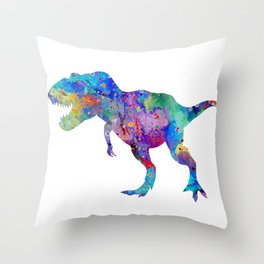 Dinosaur T-Rex Tyrannosaurus Rex Art Animals Nursery Decor Kids Room Watercolor Print Blue Purple Di Throw Pillow
