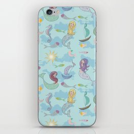 Mermaids, Sea and Boats Pattern iPhone Skin