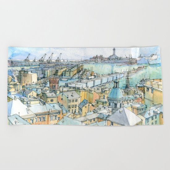 Il Porto (view of Genoa) Beach Towel