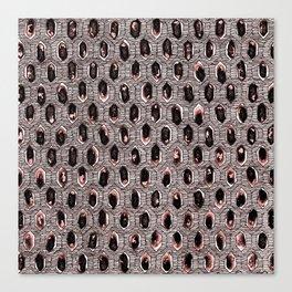 Watercolour Blackwork: 'Lozenge' Burnt Rose I (light) Canvas Print