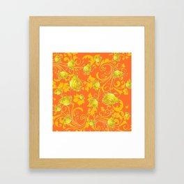 AWESOME CUMIN ORANGE & YELLOW ROSE SCROLLS  ART Framed Art Print
