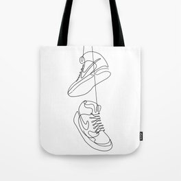 Sneakers simple minimal one line art, hanging shoes branded shoes  Tote Bag