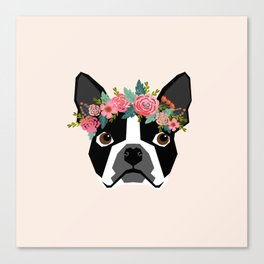 Boston Terrier dog breed with floral crown cute dog gifts pure breed Boston Terriers Canvas Print