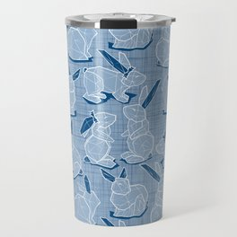 Geometric Easter bunnies // slate blue linen texture background blue rabbits with classic blue ears white lines Travel Mug