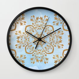 GOLD AND BLUE FLOURISH ORNAMENT MANDALA Wall Clock