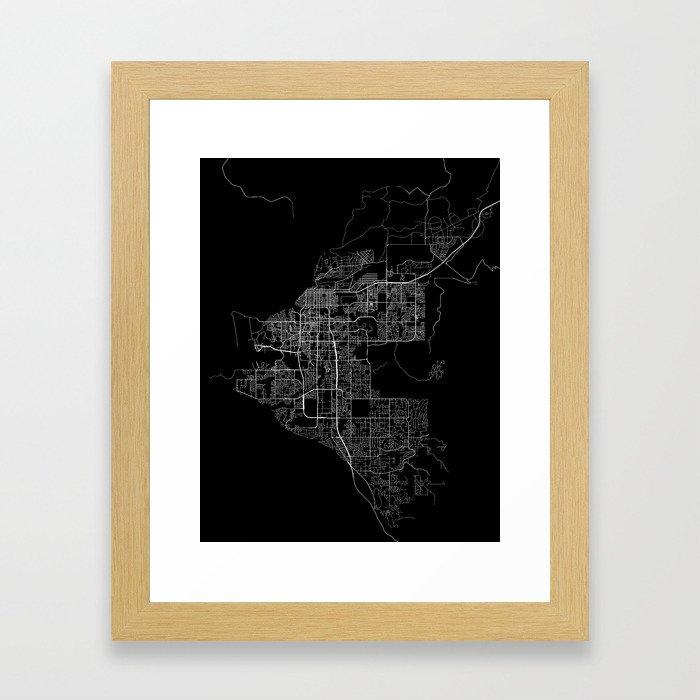 Anchorage map Alaska Framed Art Print