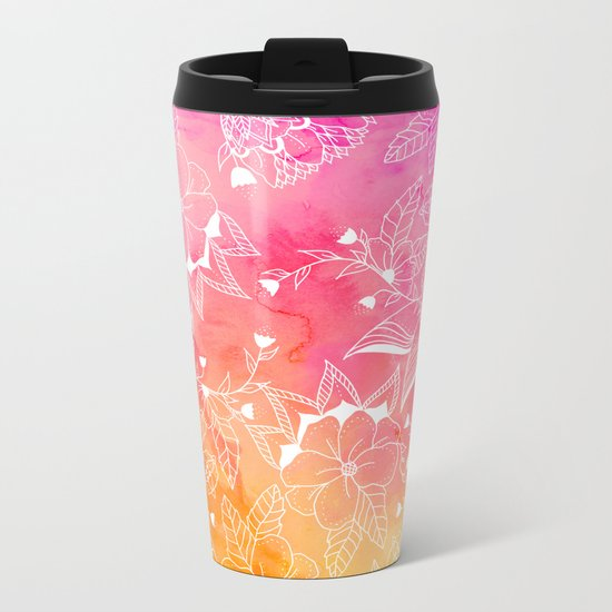 Modern summer pink orange sunset watercolor floral hand drawn illustration Metal Travel Mug