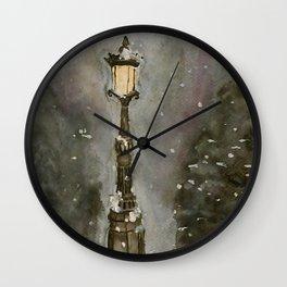 Lamp Post in Blue Wall Clock