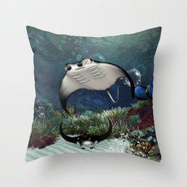 Awesome manta Throw Pillow
