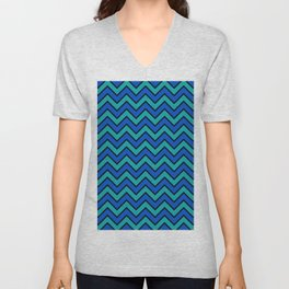 Geometric modern black blue green chevron pattern Unisex V-Neck