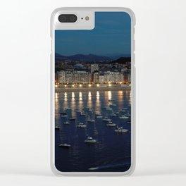 Night view of Donostia-San Sebastian. Spain. Clear iPhone Case